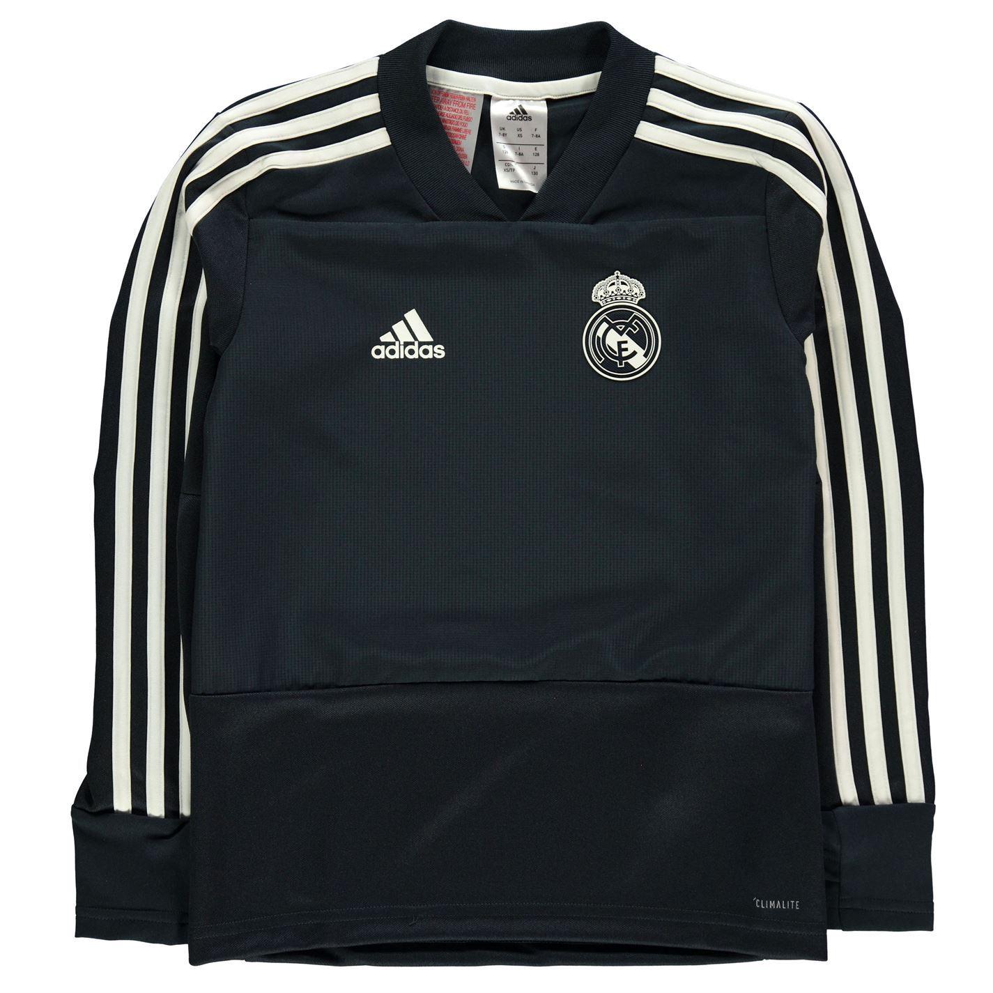 Detalles de Adidas Real Madrid Entrenamiento Camiseta Junior Negro Fútbol Sudadera Top