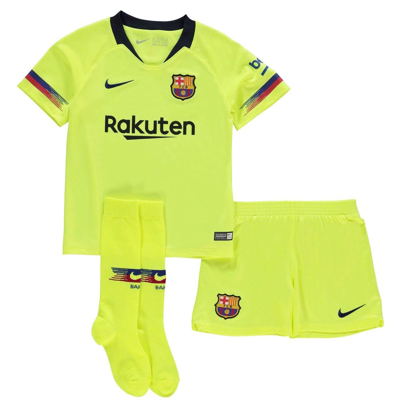 f8eb817f7 ... Nike Barcelona Away Mini Kit 2018 19 Infants Yellow Football Soccer  Strip ...