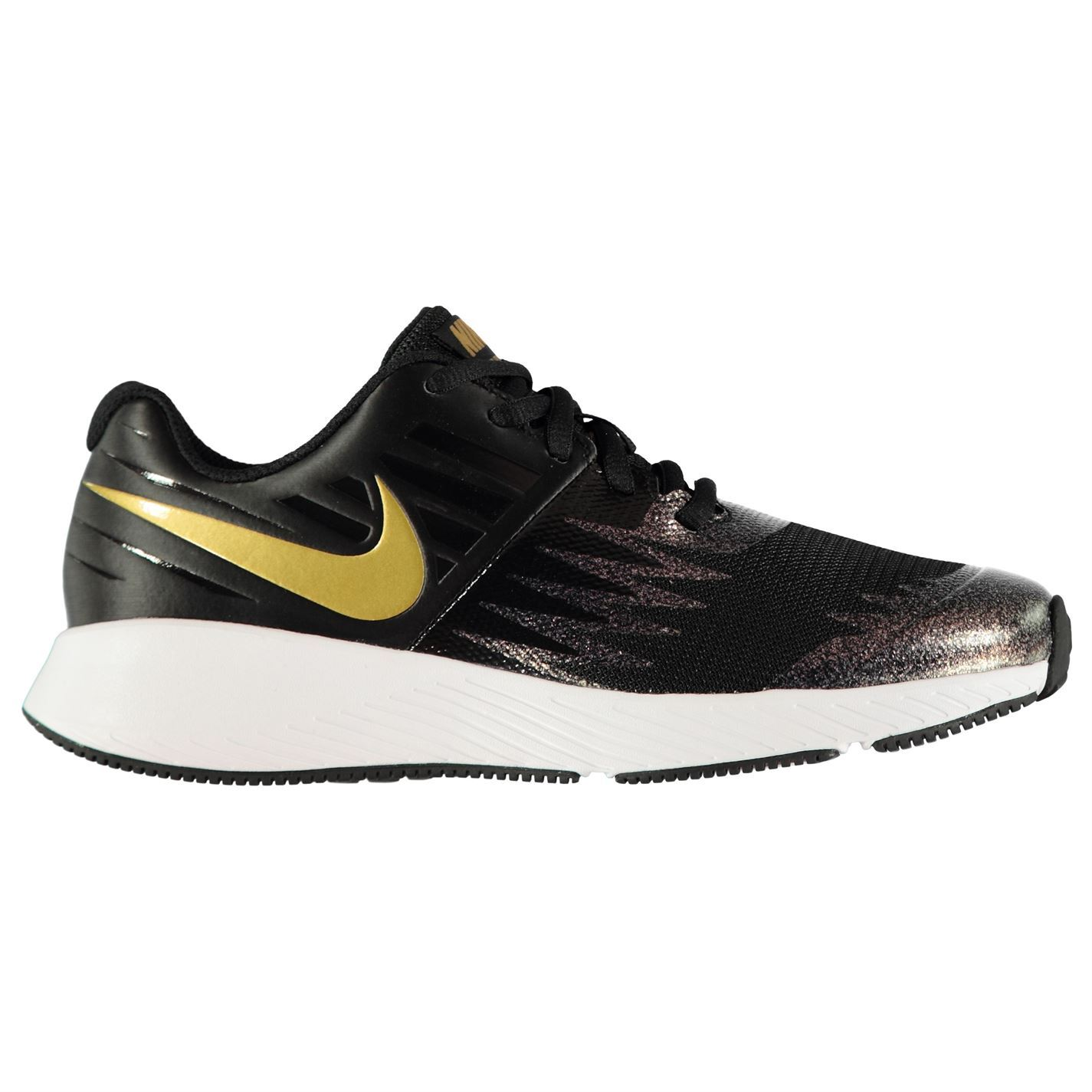 ... Nike Star Run Junior Girls Trainers Black Gold Shoes Footwear ... b0425143b