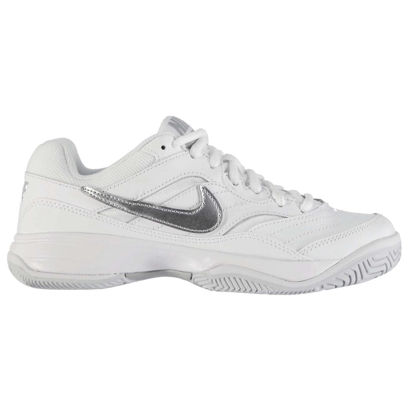 cad7e922cd0d ... Nike Court Lite Tennis Shoes Womens White Silver Sports Trainers  Sneakers ...