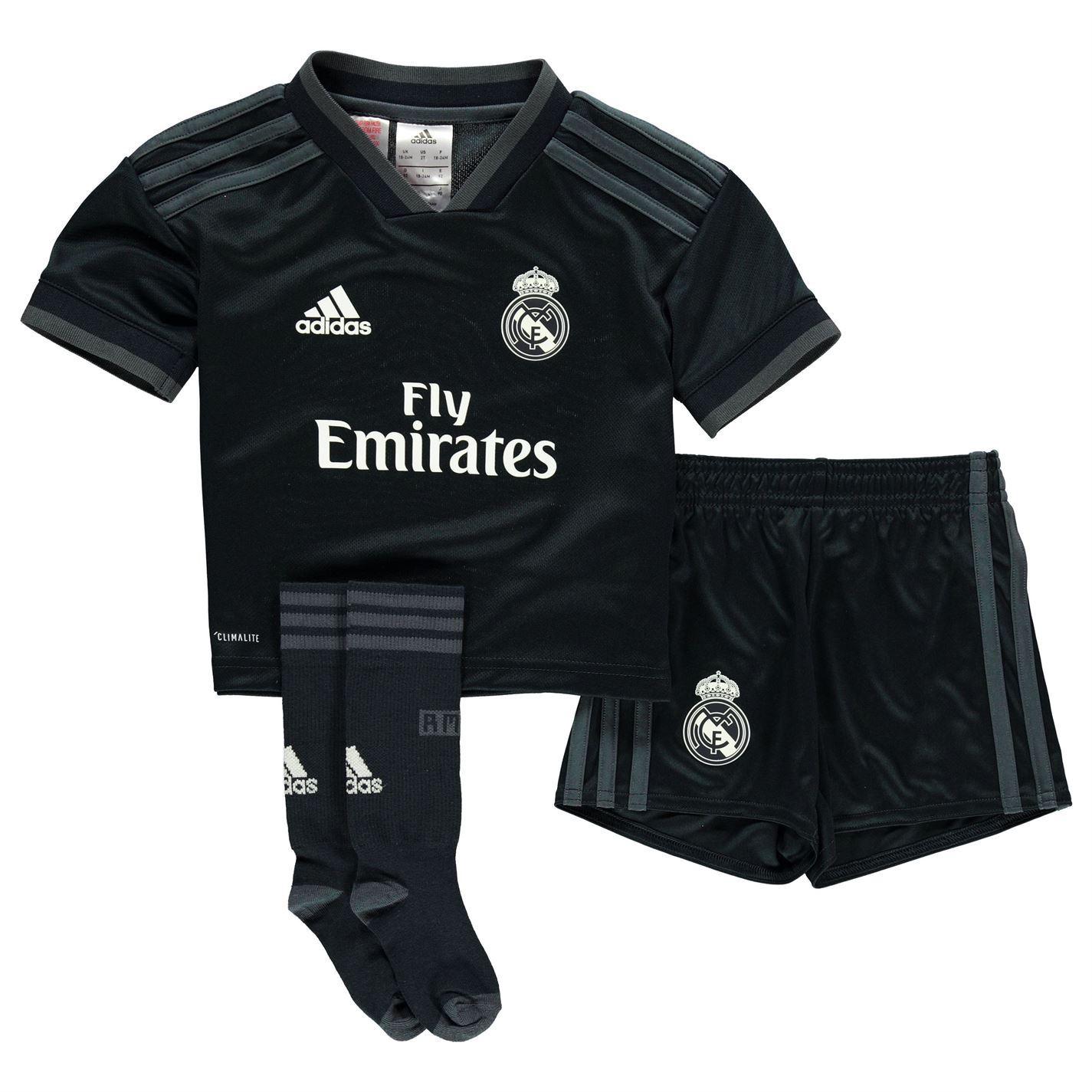 adidas Real Madrid Away Mini Kit 2018 19 Infants Grey Football Soccer Strip 2f545bfbb