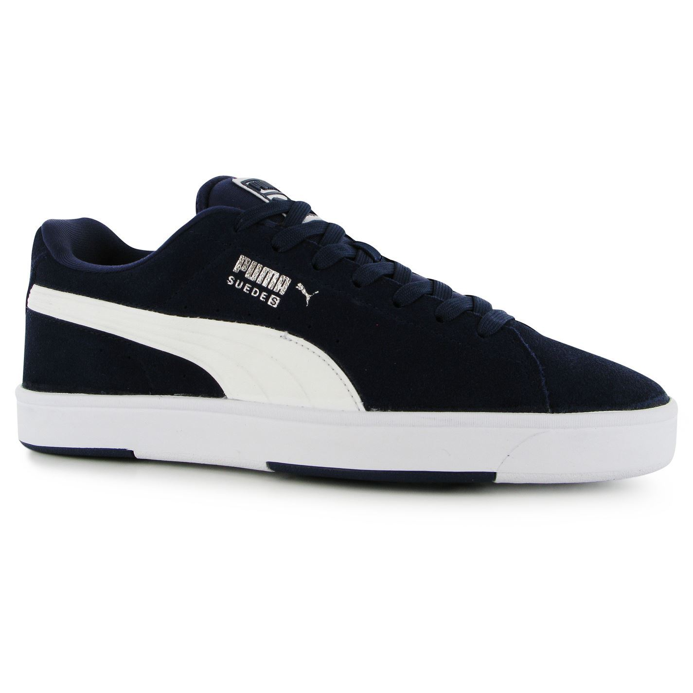 fd142b19ff9 Puma Suede S Trainers Mens Navy White Casual Sneakers Shoes Footwear ...