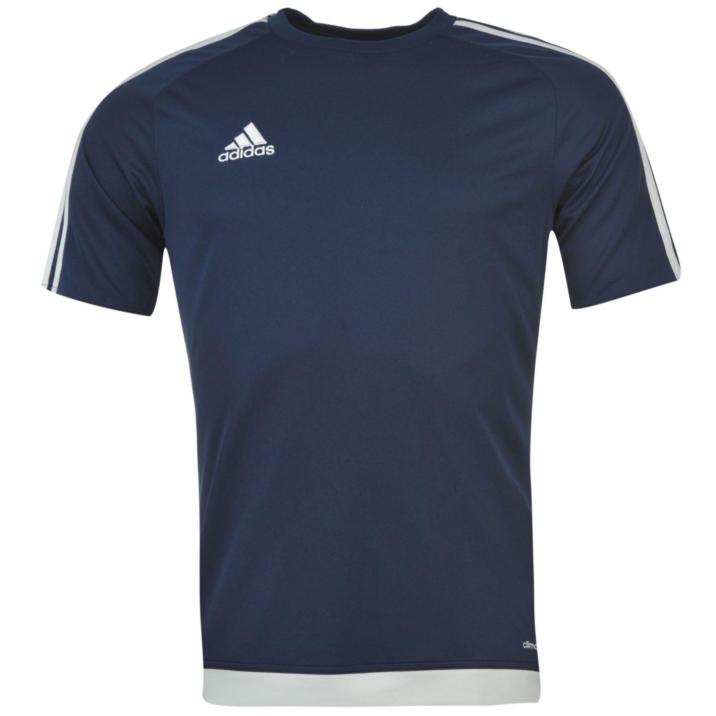 Details about Adidas 3 Stripe Estro Climalite T Shirt Mens Dark BlueWhite Sports Top