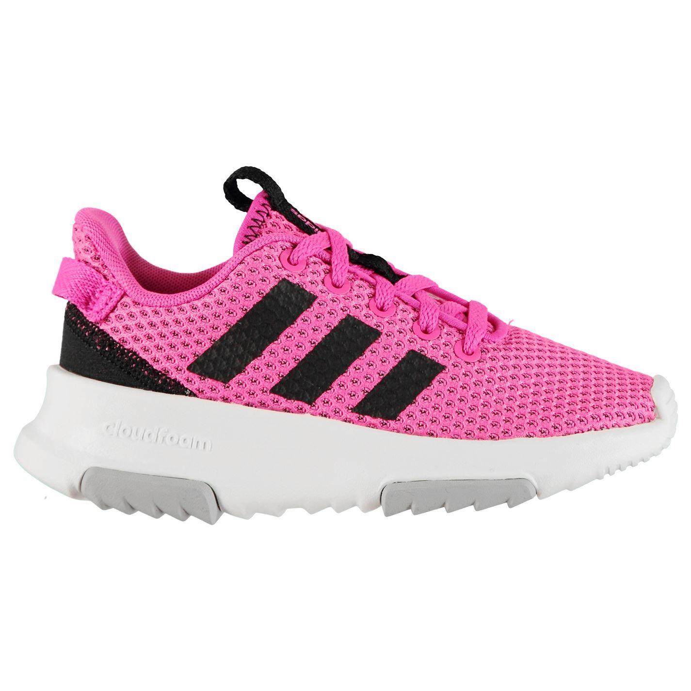 Détails sur Adidas Cf Coureur Baskets Enfant Filles RoseNoirBlanc Chaussures