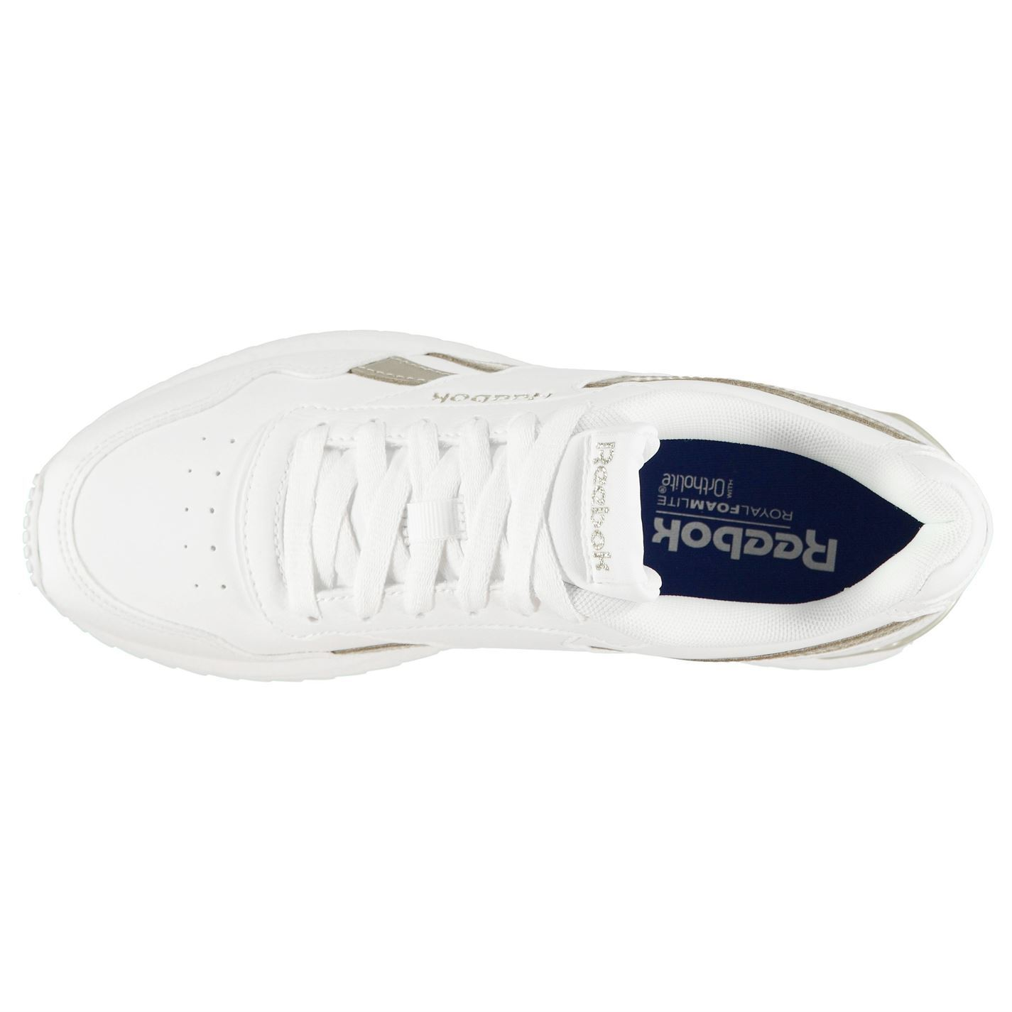 Reebok Royal Glide Ripple Clip Trainers Womens White Gold Trainers Sneakers 469a1a524