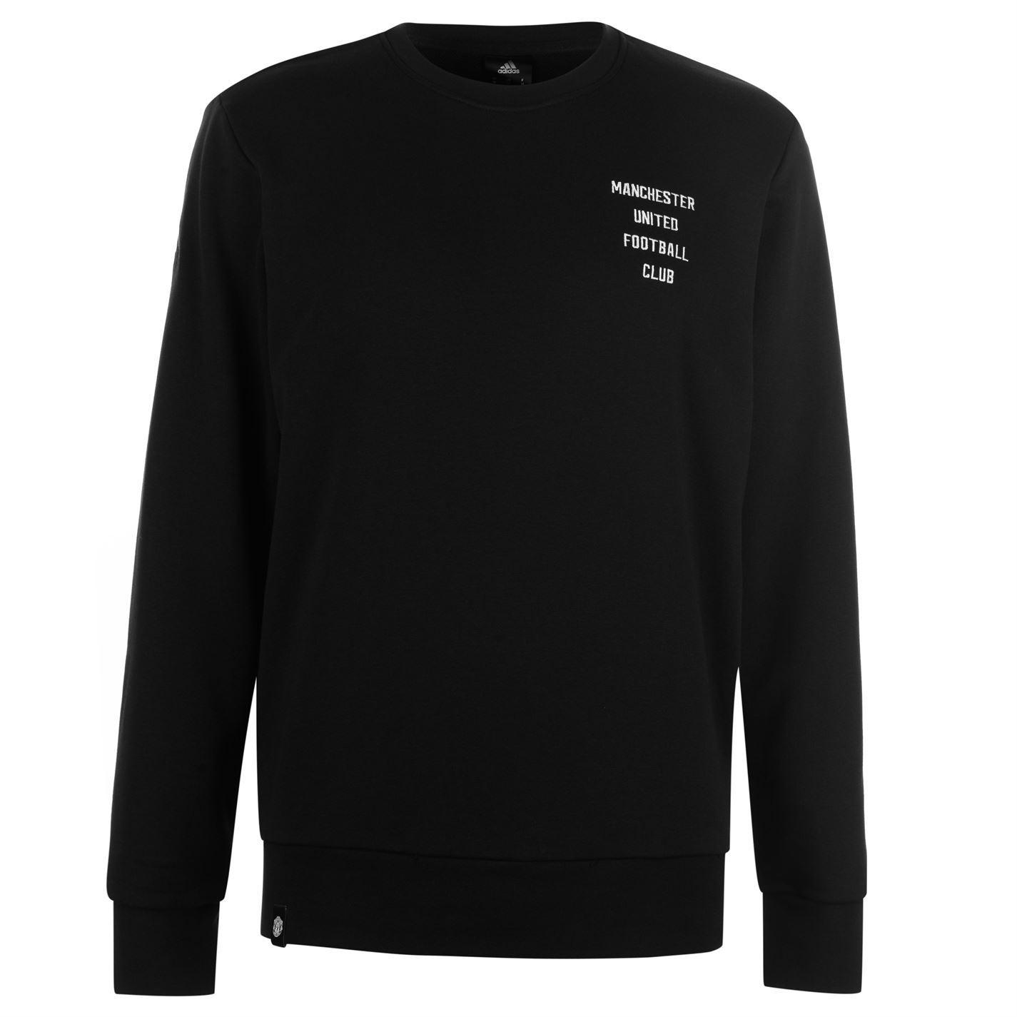 f0f0d2b1b61 adidas Manchester United SGR Sweatshirt Mens Black Football Soccer Track  Sweater