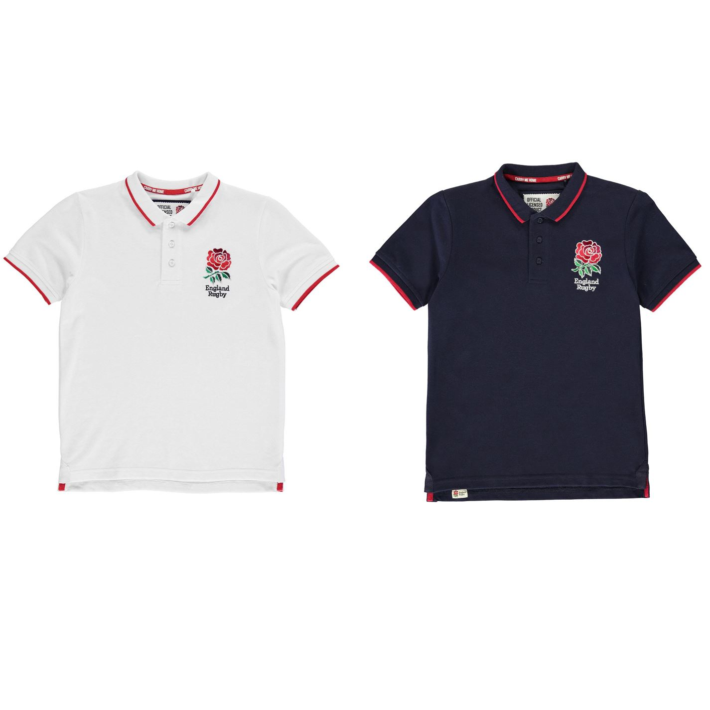 Junior Boys Casual England Rugby Crest Core Polo Shirt Top