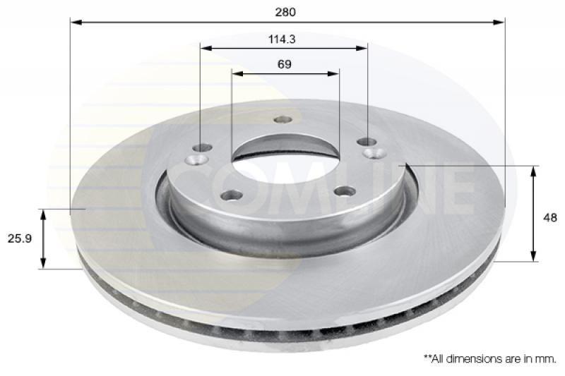 ADC1719V 2x Genuine Comline Front Vented Coated Brake Discs Set Pair