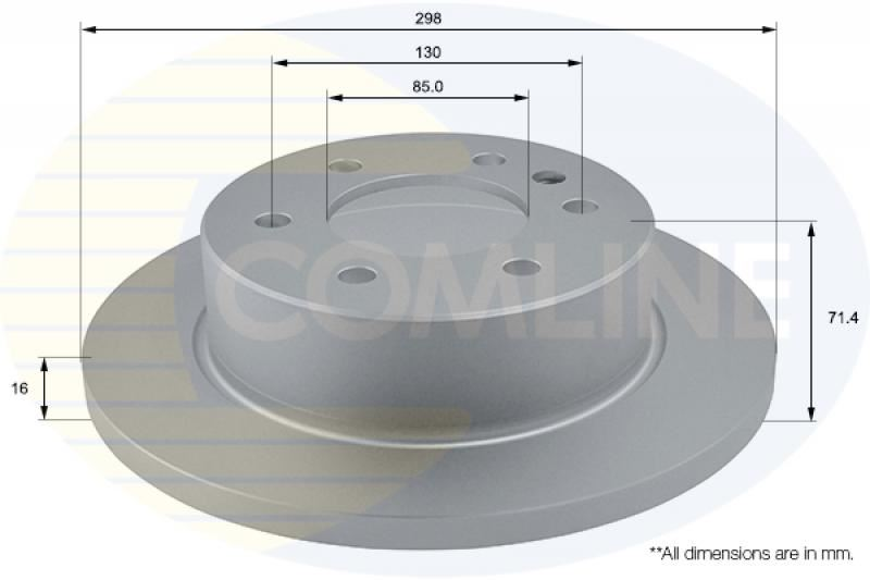 2x Genuine Comline Rear Solid Coated Brake Discs Set Pair ADC1228