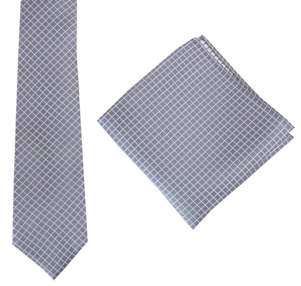 ae3e9881be24 Knightsbridge Neckwear Mens Check Tie and Pocket Square set - Grey ...