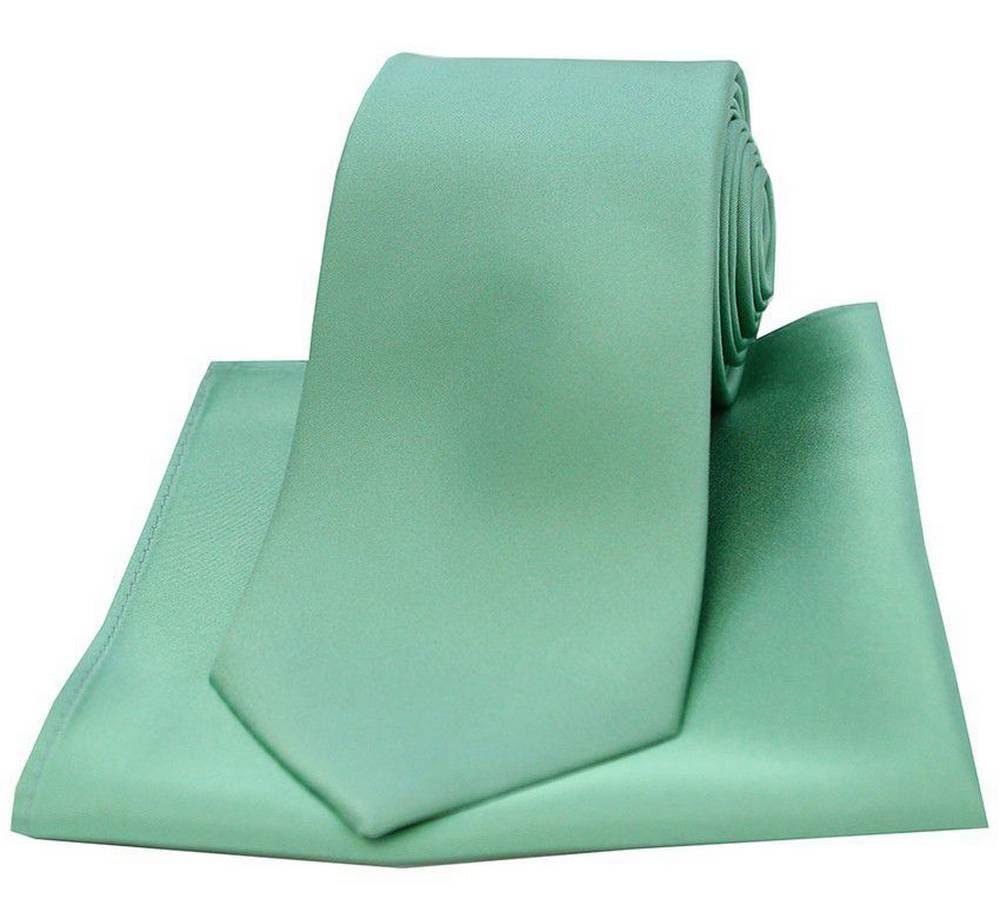 David Van Hagen Mens Satin Thin Tie and Pocket Square Set Sea Green