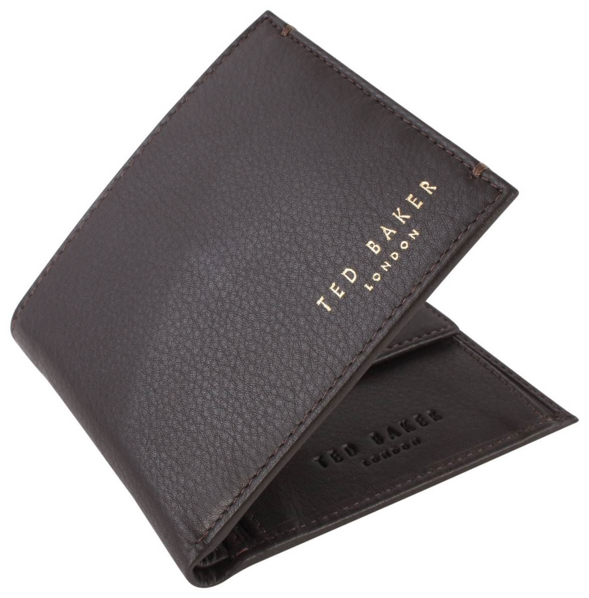 Chocolate Ted Baker Mens Harvys Bifold and Coin Wallet