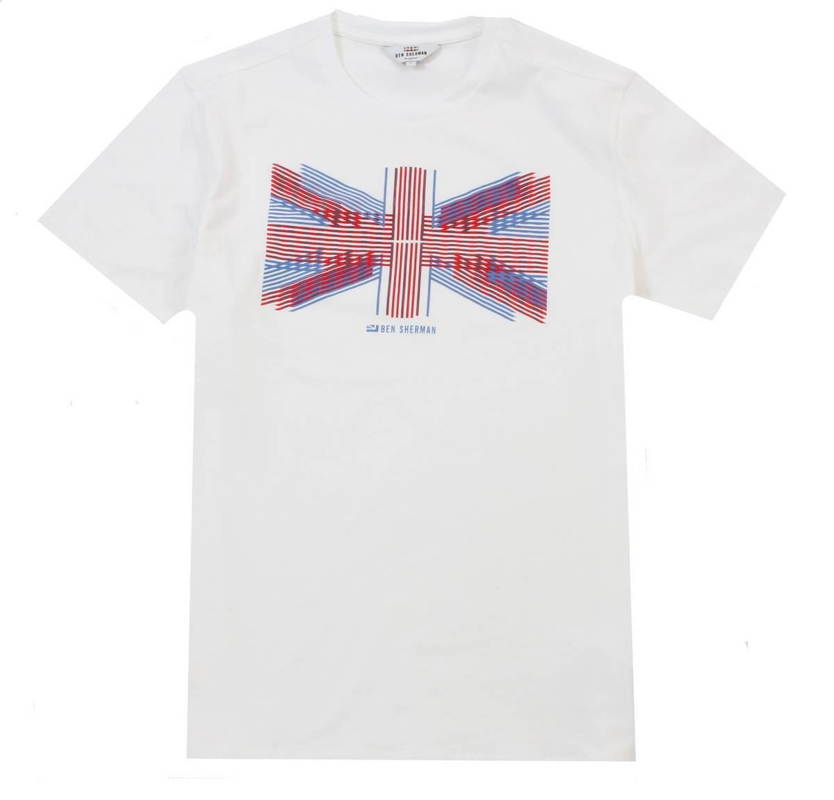 5ee34ea0f Ben Sherman Mens Union Lines T-Shirt - White/Blue/Red | eBay
