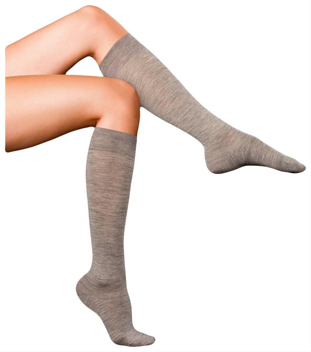 fd37849a322 Falke Womens Finest No3 Merino and Silk Knee High Socks - Light Grey Melange