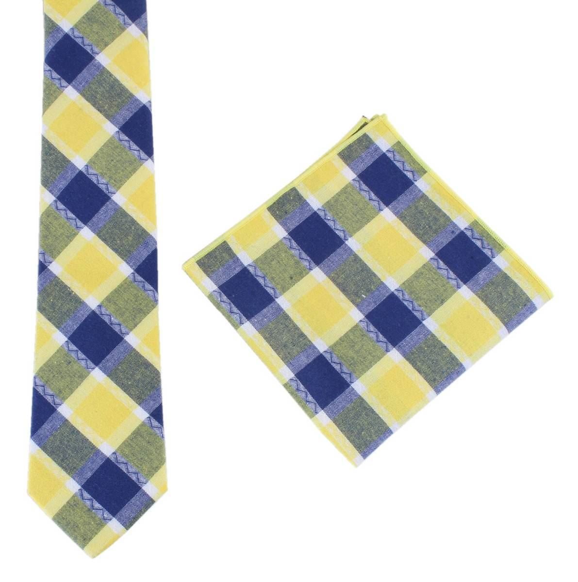 c675b814c490 Knightsbridge Neckwear Mens Check Tie and Pocket Square set - Yellow/Navy