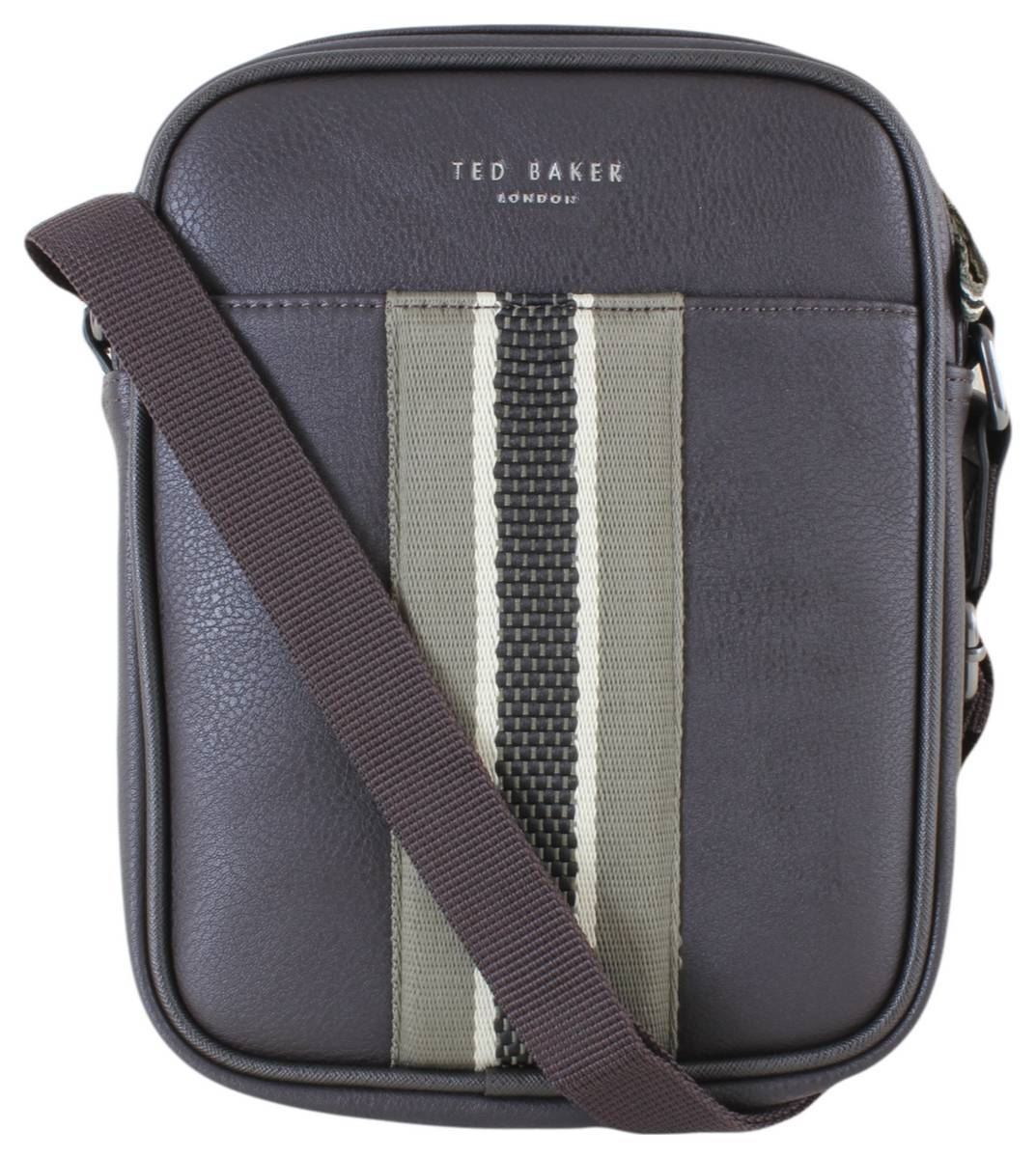 Ted Baker Mens Jets Webbing Mini Flight Bag - Chocolate Brown Green ... af500ca823664