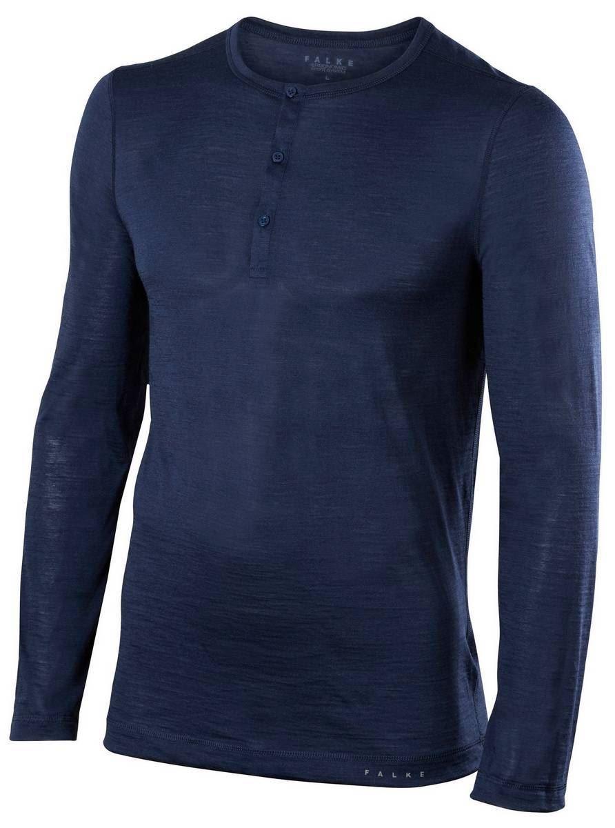 8fdbede4 Falke Mens Silk Wool Long Sleeve Shirt - Space Blue   eBay