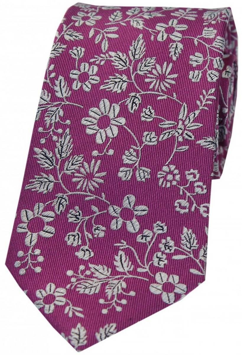 Fuchsia David Van Hagen Mens Wedding Rose Silk Tie