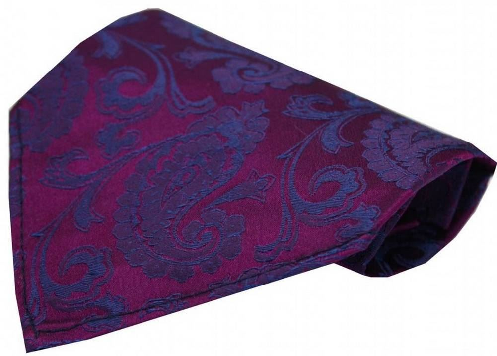 David Van Hagen Mens Luxury Paisley Tie and Handkerchief Set Lilac