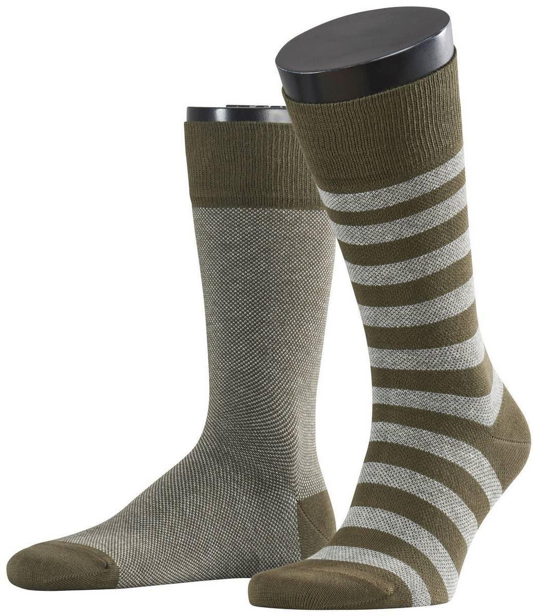 2aee4389ccc2b Esprit Mens Pique Stripe 2 Pack Socks - Hunter Green/Grey   eBay