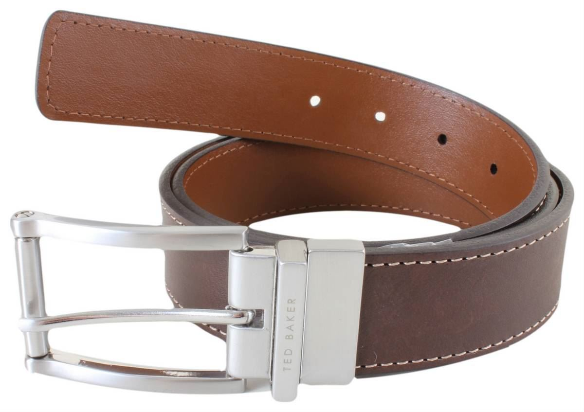809ae5834 Ted Baker Mens Bream Casual Reversible Belt - Chocolate Tan