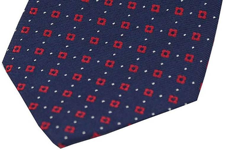 David Van Hagen Mens Neat Box Pattern Silk Tie Light Blue//Navy
