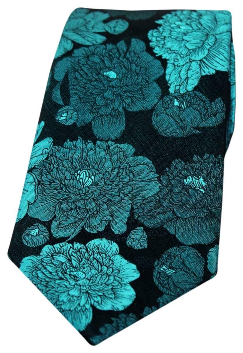 David Van Hagen Mens Small Flowers Silk Pocket Square Brown
