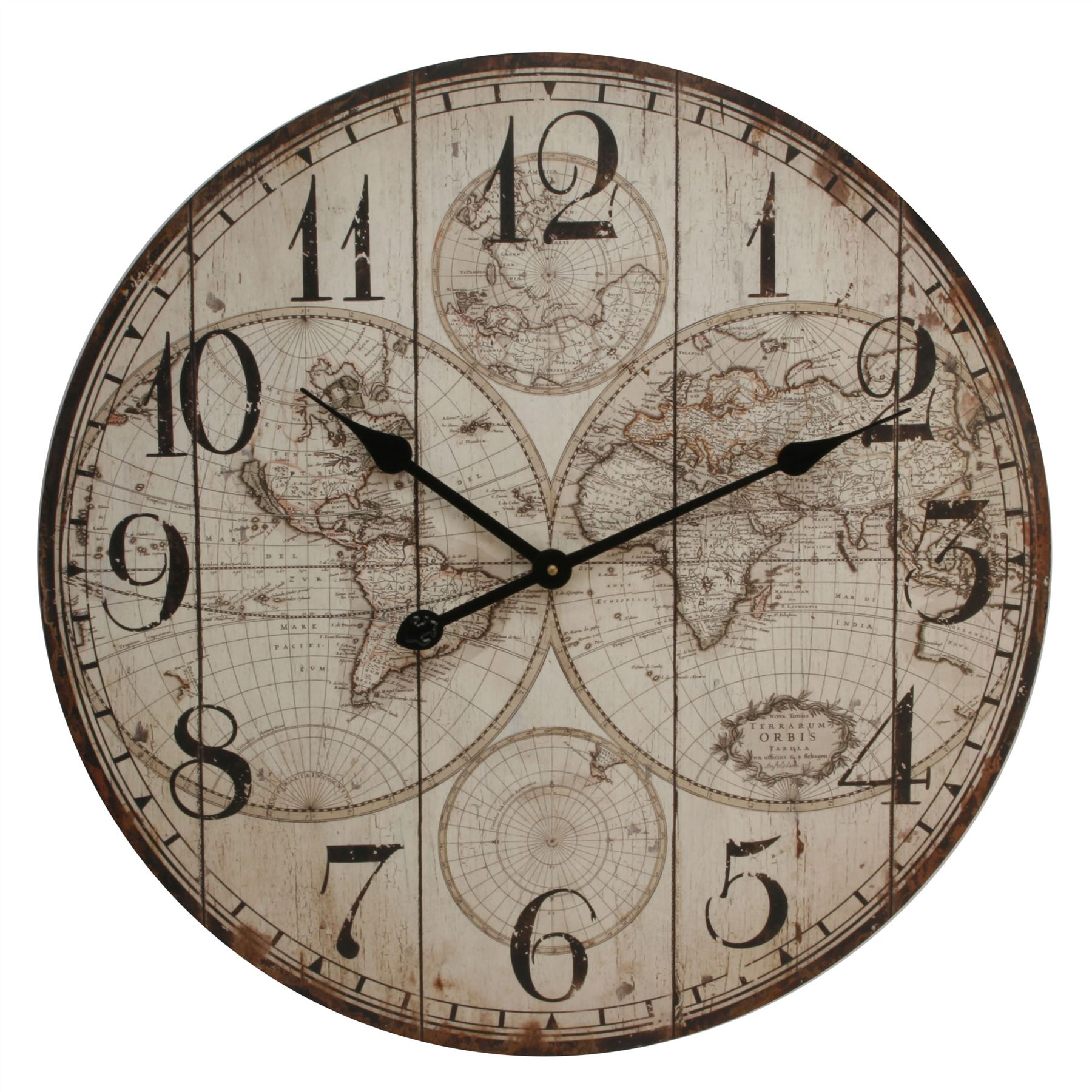 Hometime Wall Clock - World Map Pattern 60cm