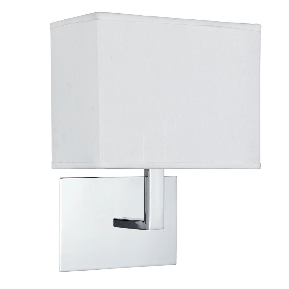 Details about Searchlight WALL LIGHT CHROME WHITE RECTANGULAR SHADE 5519CC