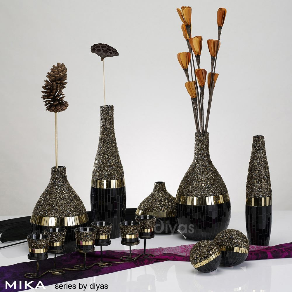 Mika Mosaic Tall Vase Black//Gold