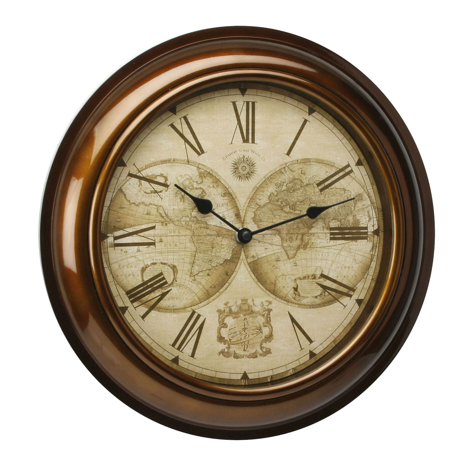 Hometime wall clock gold case world map dial 30cms ebay hometime wall clock gold case world map dial 30cms gumiabroncs Images