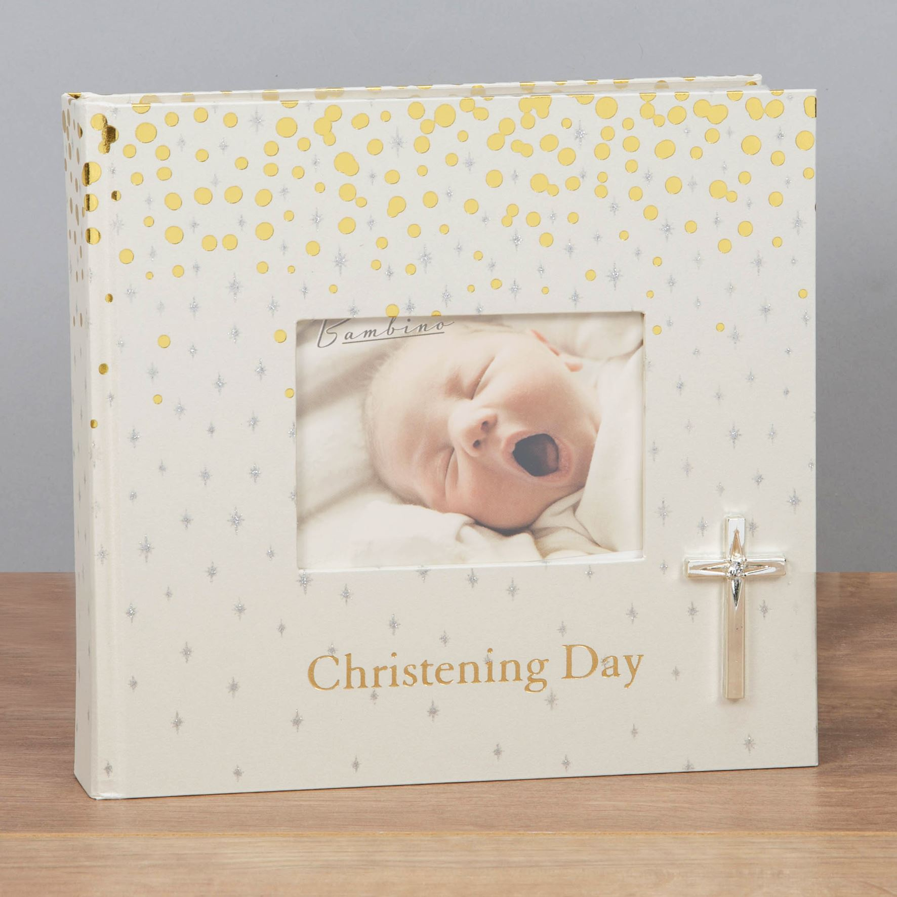 """Christening Day Photo Album 6/"""" x 4/"""" Gift With 3D Teddy Icon"""