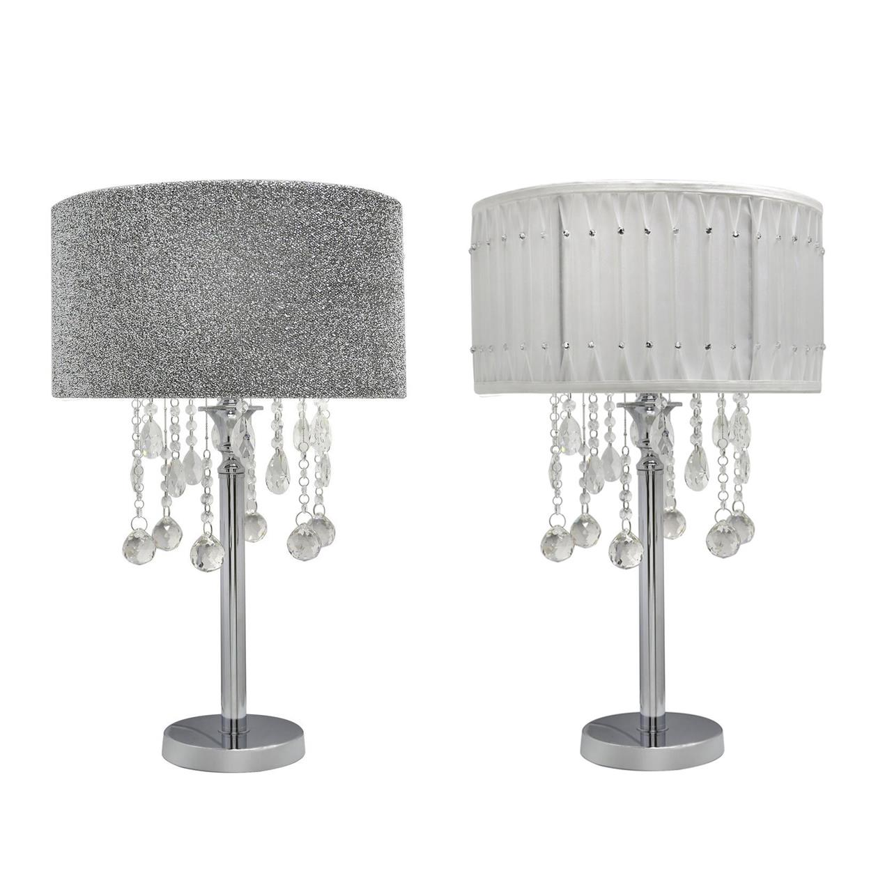 Chrome Table Lamp With Crystal Cut Glass Droplet Diamante Studded Pleated Shade Ebay