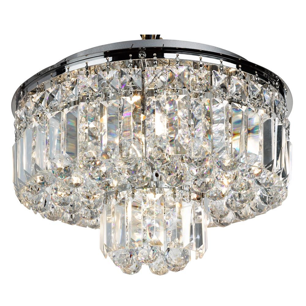 Searchlight 2140-40 Round Glass with Crystals Flush Fit 40cm Ceiling Light