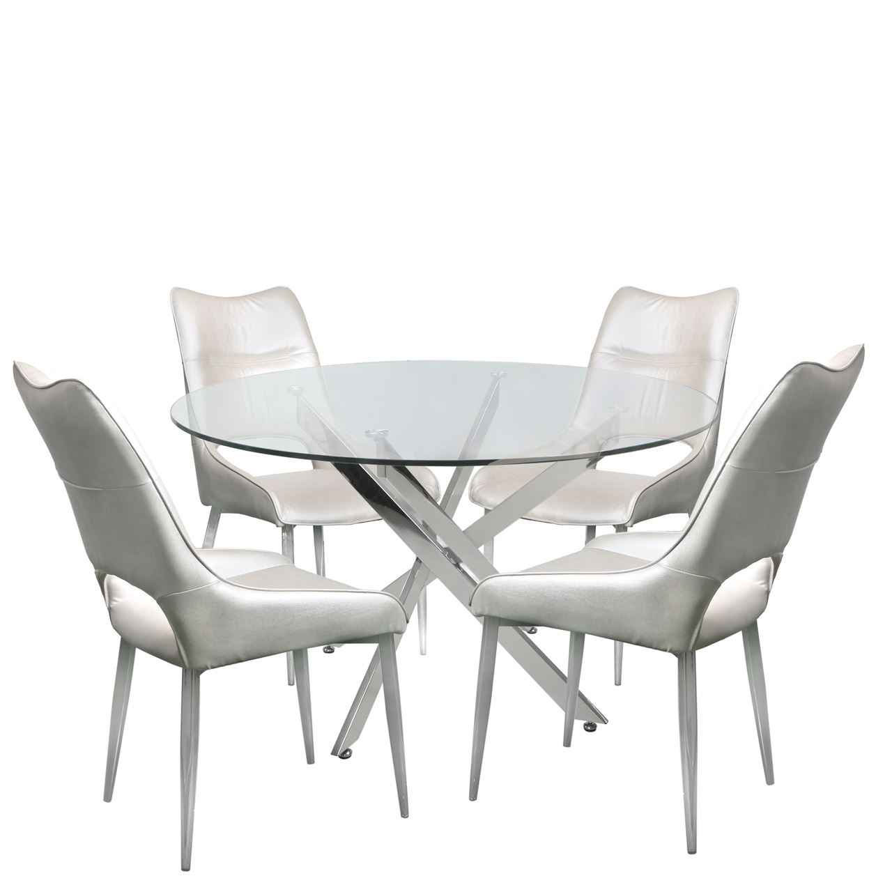 tempered glass steel chrome round dining table and 4 white adelaide rh ebay co uk Elegant Round Dining Tables and Chairs Round Glass Dining Table and Chairs