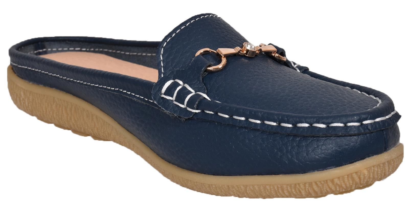 Ladies-Leather-Loafer-Mules-Comfort-Shoes-Womens-Slider-Moccasins-Shoes thumbnail 25
