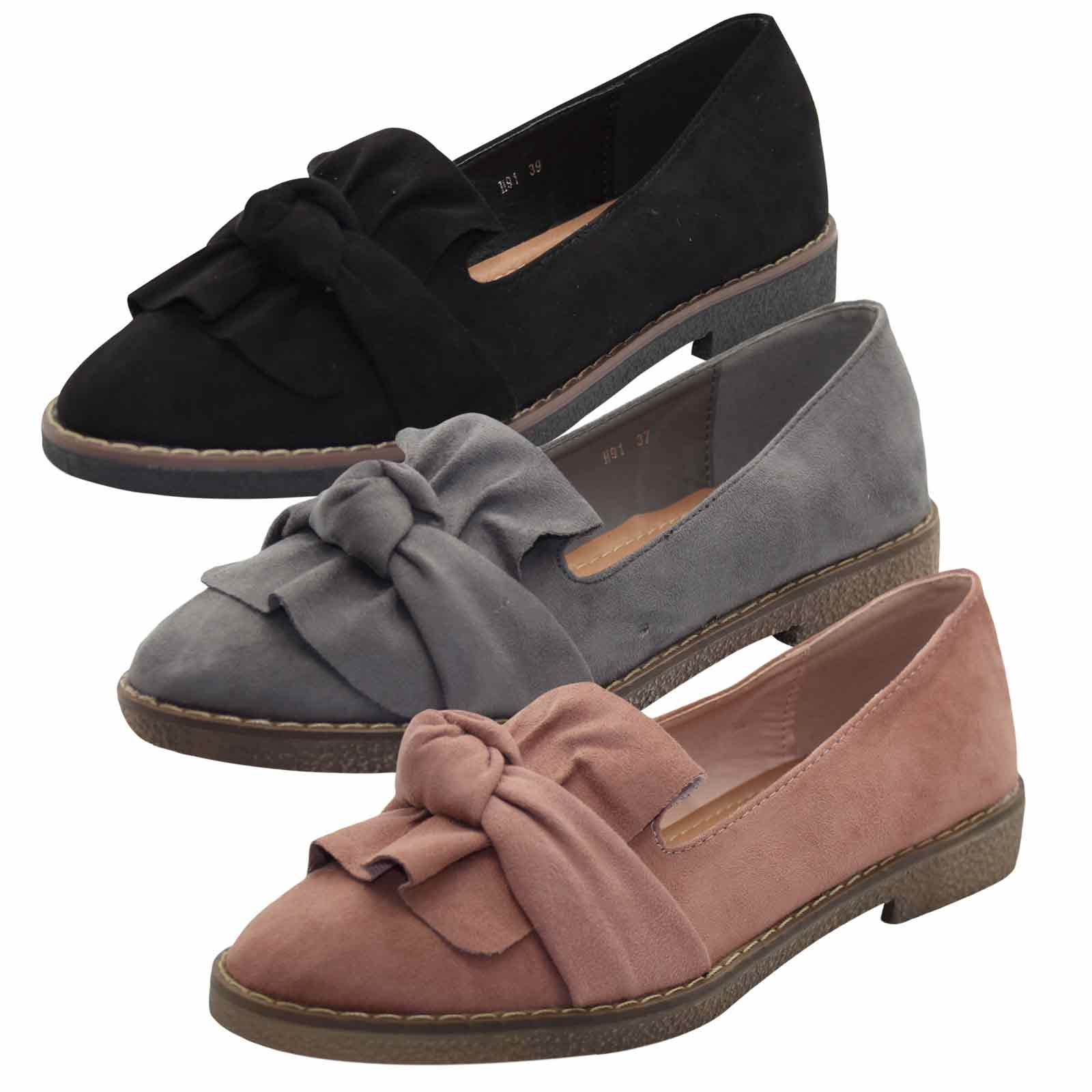 LADIES NEW LOOK FAUX SUEDE BOW DETAIL FLAT BALLERINA DOLLY PUMPS BLACK UK 3-8