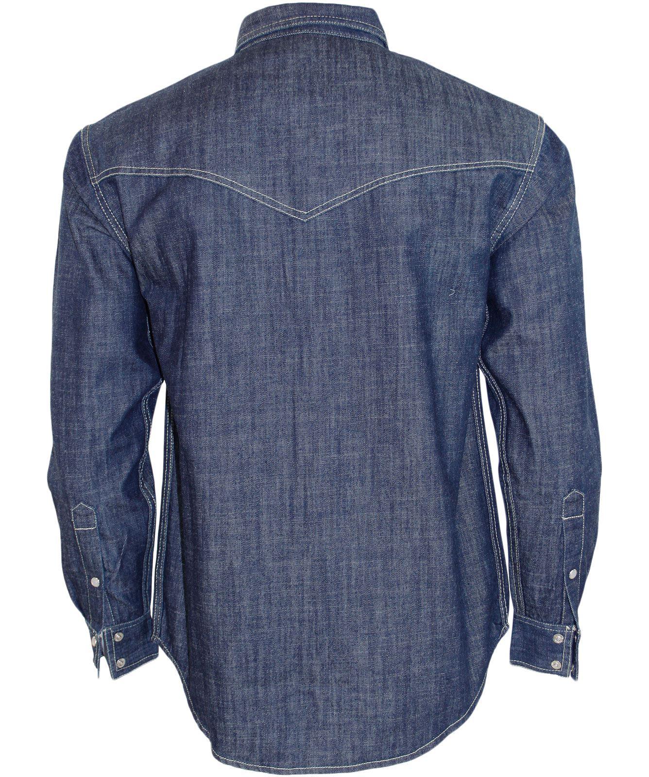 Best Men Denim Shirt Double Chest Pocket Long Sleeve Collar Cotton