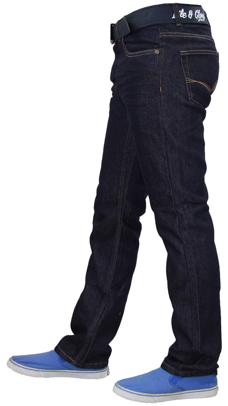 Mens-Regular-Fit-Jeans-Straight-Leg-Denim-Pants-Casual-Trousers-With-Free-Belt thumbnail 15