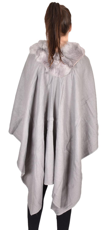 New Women Cape Throw Over Faux Fur Poncho Ladies Winter Wrap Shawl Blanket