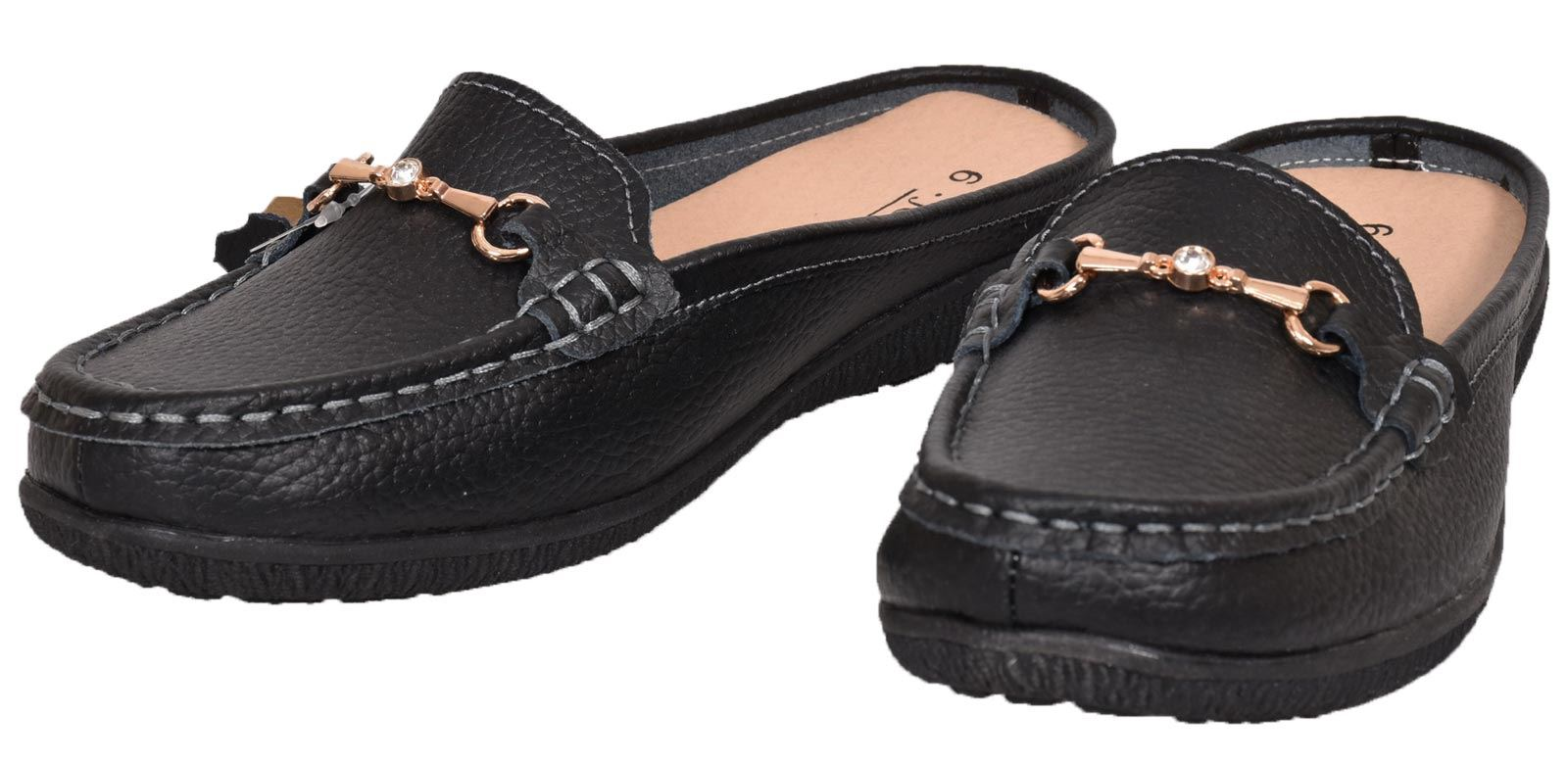 Ladies-Leather-Loafer-Mules-Comfort-Shoes-Womens-Slider-Moccasins-Shoes thumbnail 19