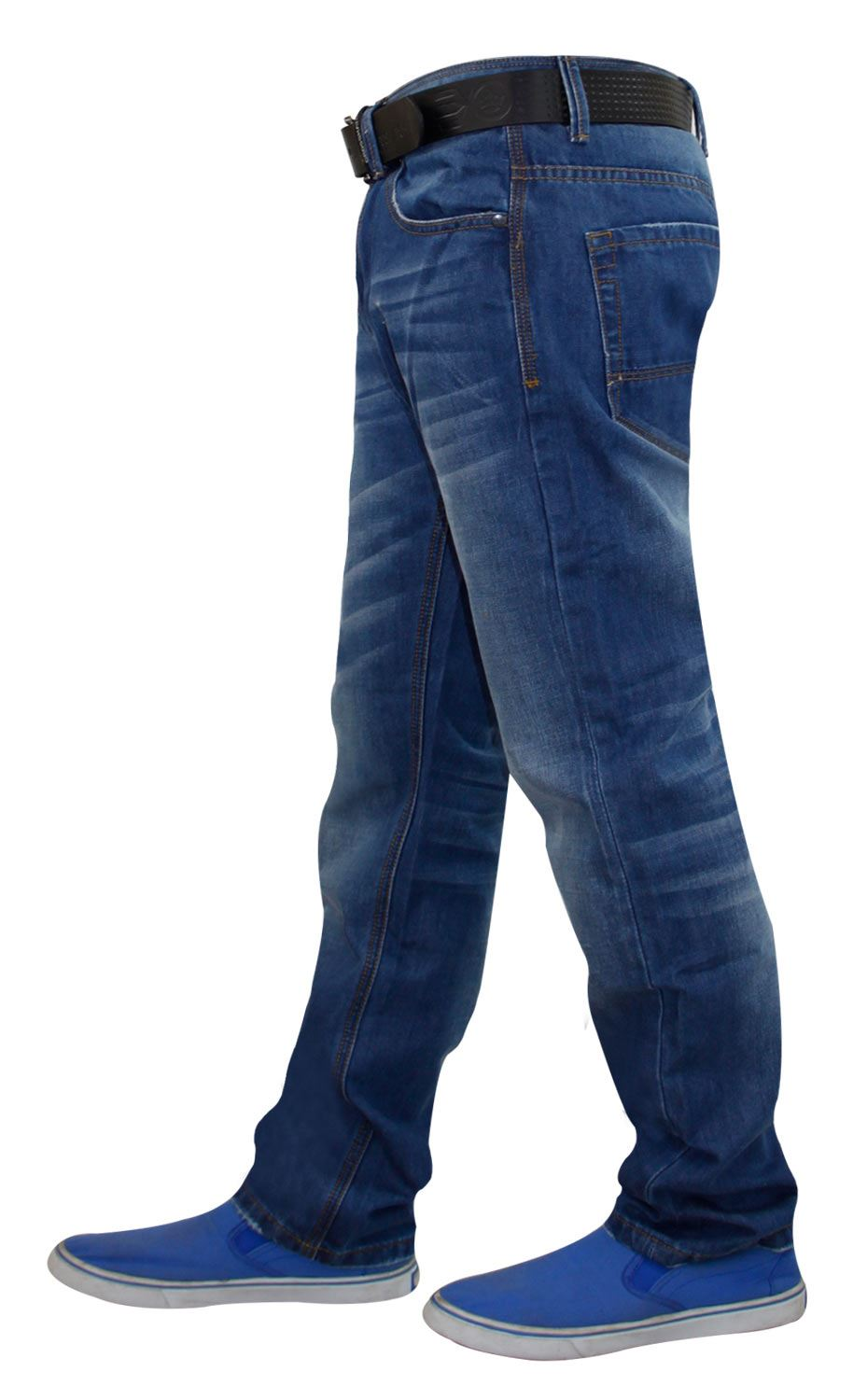 Mens-Straight-Leg-Jeans-Regular-Fit-Denim-Pants-Trousers-With-Free-Leather-Belt thumbnail 7
