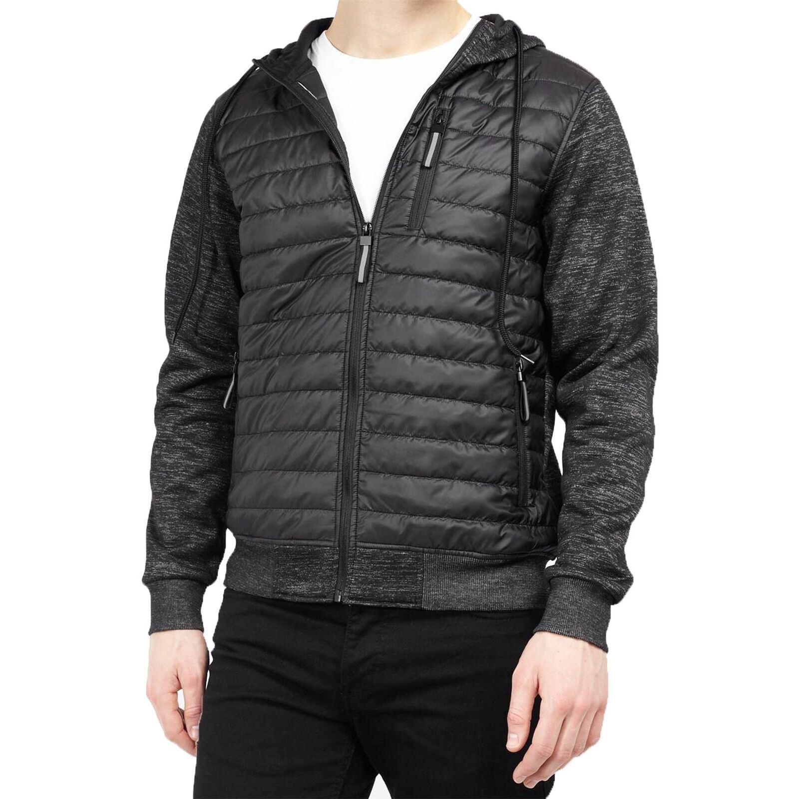 Mens Brave Soul Padded Quilted Hooded Jacket Hoodie Zip Sweatshirt Winter Coat
