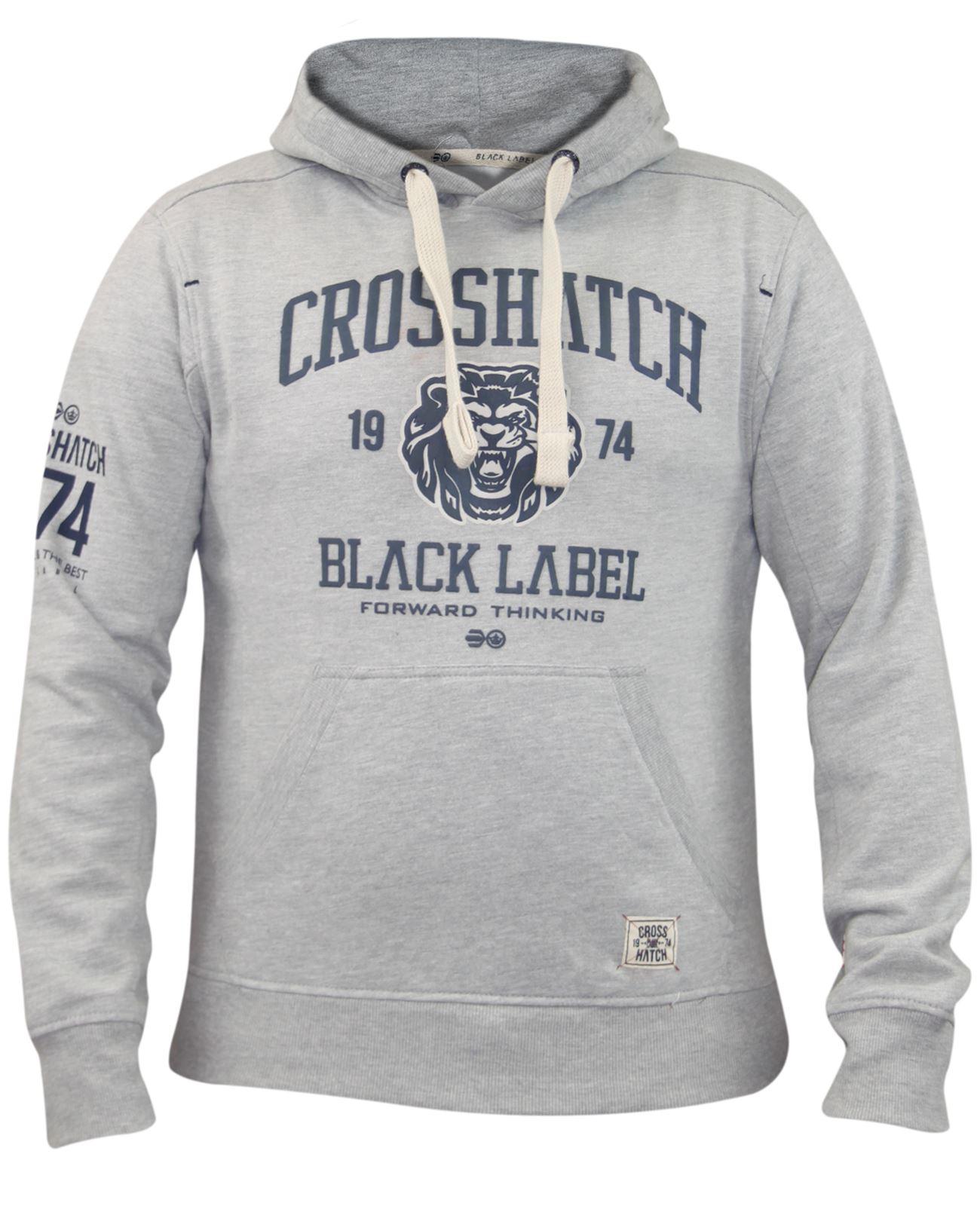 Mens-Crosshatch-Branded-Pullover-Printed-Hoodie-Sweatshirt-Hooded-Top thumbnail 5