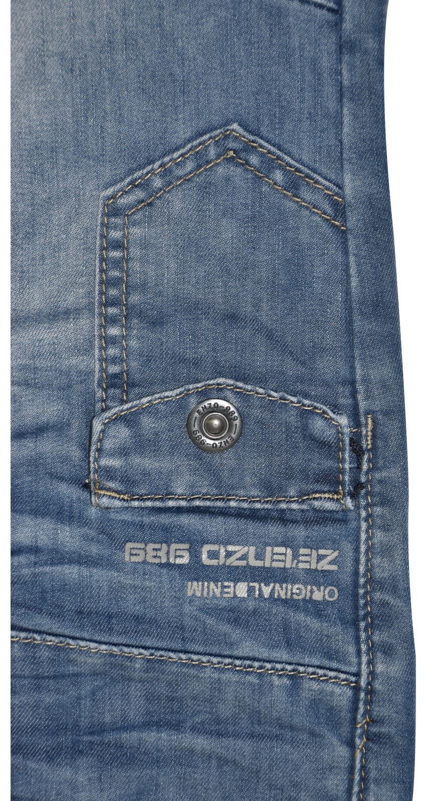 ENZO Jeans Denim Uomo patta con bottoni Regular Fit Pantaloni a Gamba Dritta Pantaloni