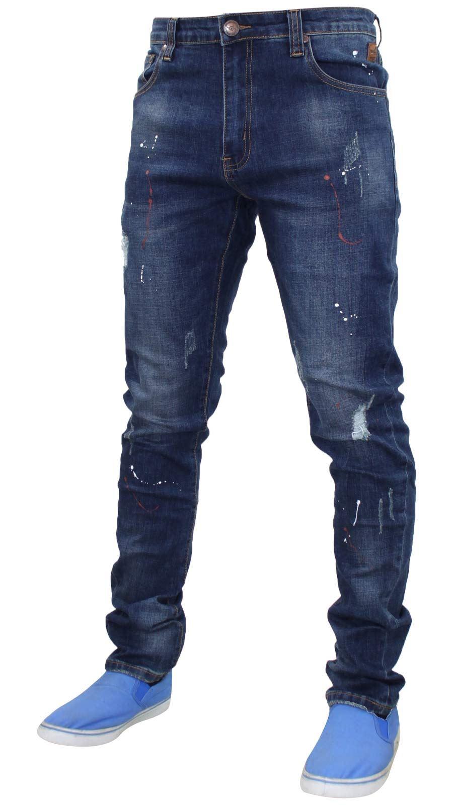 Mens Slim Fit Ripped Stretch Jeans Jacksouth Paint Splash Cotton Denim Pants