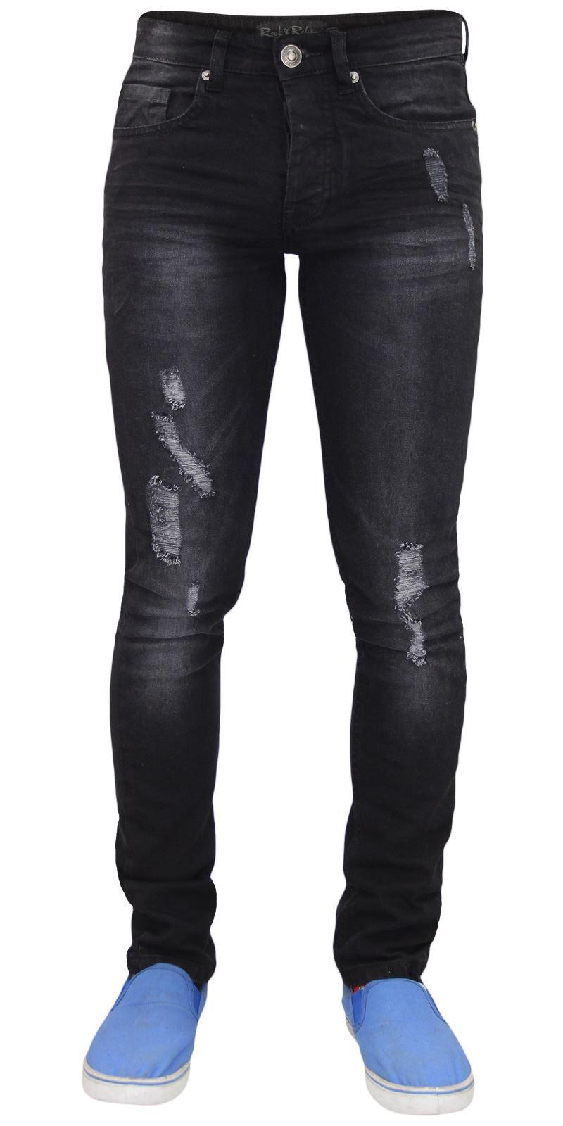 Jeans da Uomo Adres SLIM Ripped Knee Stretch Denim Nero Biker Jeans Taglia 30W