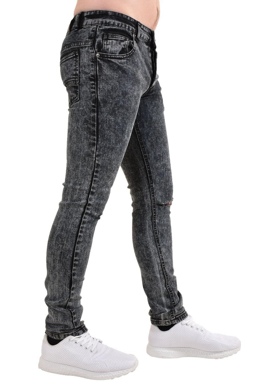 Mens-Ripped-Skinny-Jeans-Super-Stretch-Slim-Fit-Denim-Pants-Black-Trousers-28-38 thumbnail 6