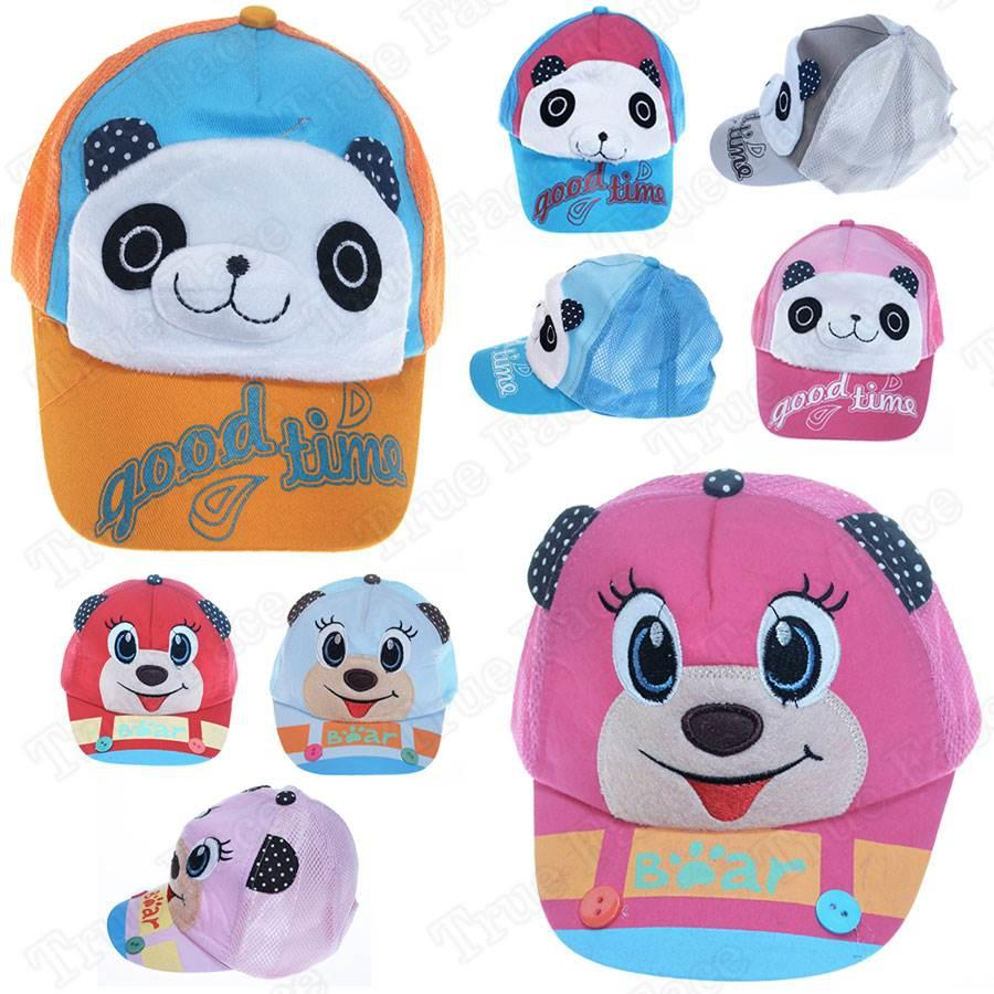 New Kids Animal Baseball Caps Breathable Mesh Velcro /& Snap Back Children Hats