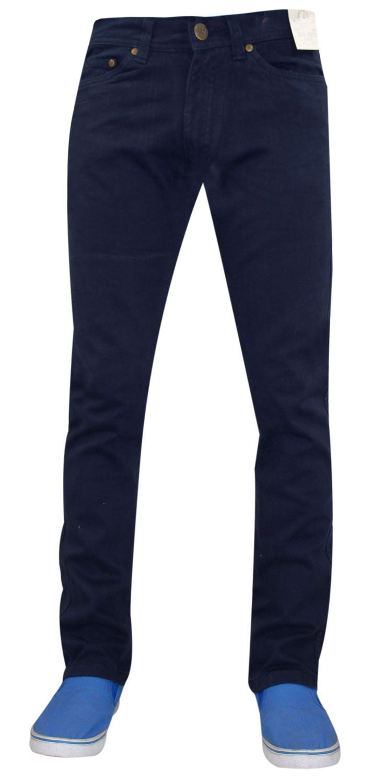 Mens-Jeans-Ajustados-Slim-Fit-Denim-Sarga-de-algodon-elastico-Pantalones-Chinos-Pantalones miniatura 16